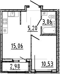 2Е-комнатная, 34.65 м²– 2