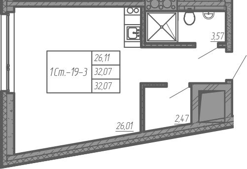 Студия, 32.07 м²