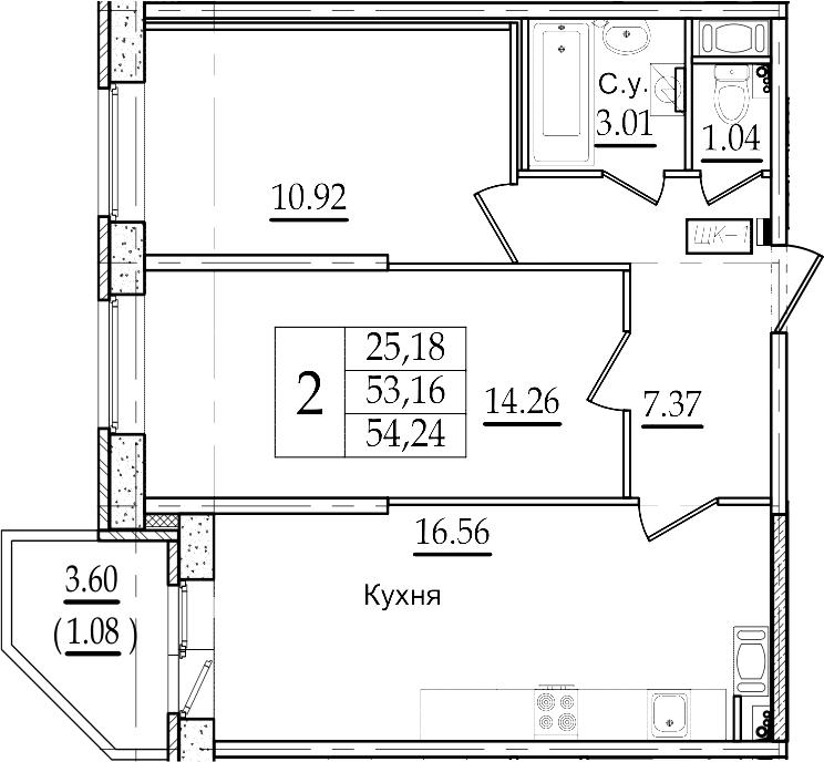 3Е-к.кв, 54.24 м²