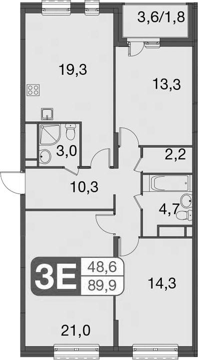 4Е-комнатная, 89.9 м²– 2