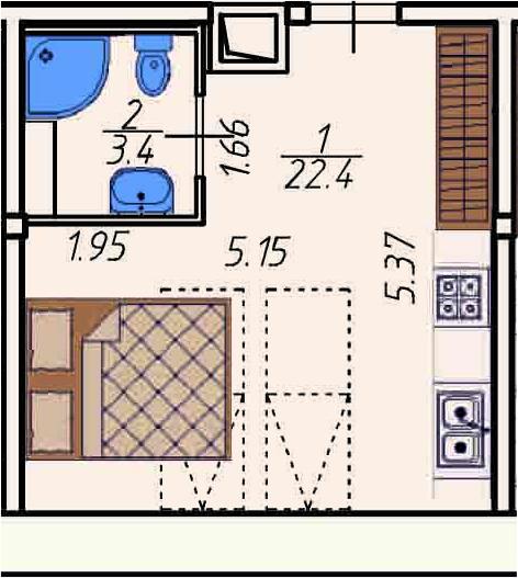 Студия, 25.8 м²– 2