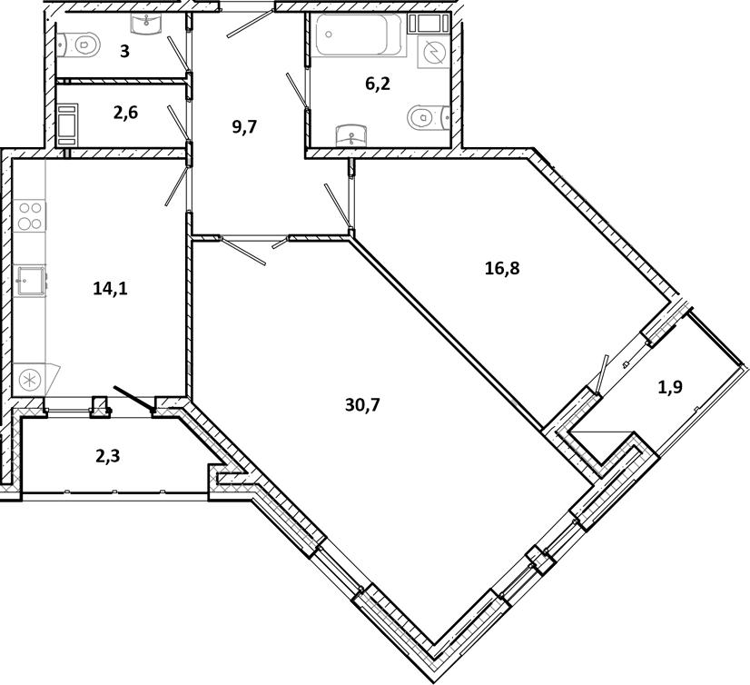 2-к.кв, 91.5 м²
