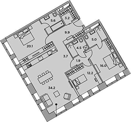 4-к.кв (евро), 116.3 м²