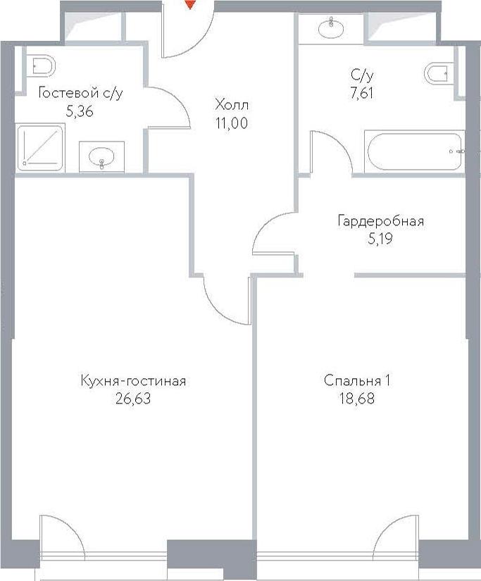 2Е-комнатная, 74.47 м²– 2