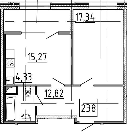 1-к.кв, 56.51 м²
