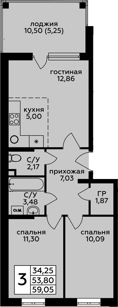 3Е-к.кв, 59.05 м², 1 этаж