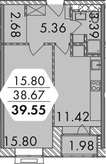 1-комнатная, 39.64 м²– 2