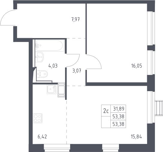 2Е-к.кв, 53.38 м²