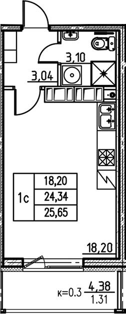 Студия, 24.34 м², 21 этаж