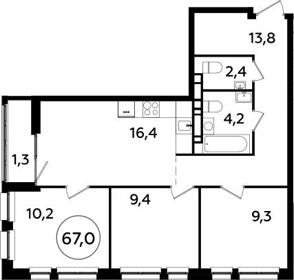 4Е-к.кв, 67 м², 21 этаж