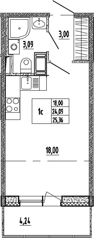 Студия, 24.09 м²– 2