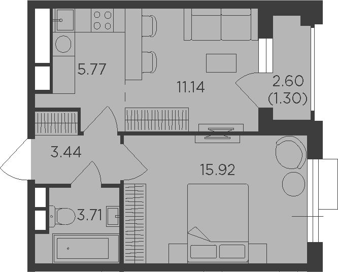 2Е-к.кв, 41.28 м²
