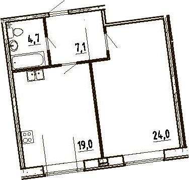 2Е-комнатная, 54.8 м²– 2