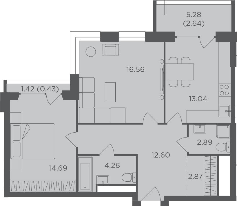 2-комнатная, 69.98 м²– 2