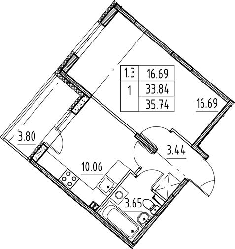 1-к.кв, 33.84 м²