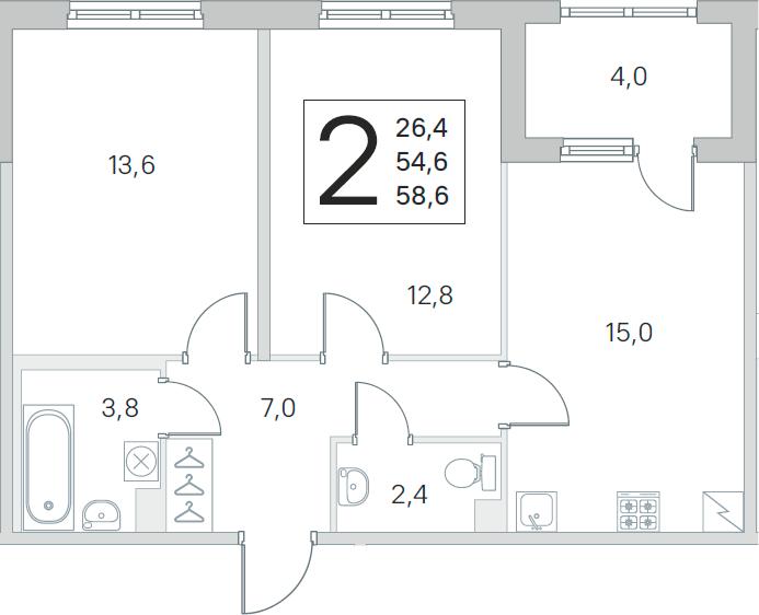 3Е-к.кв, 54.6 м², 1 этаж