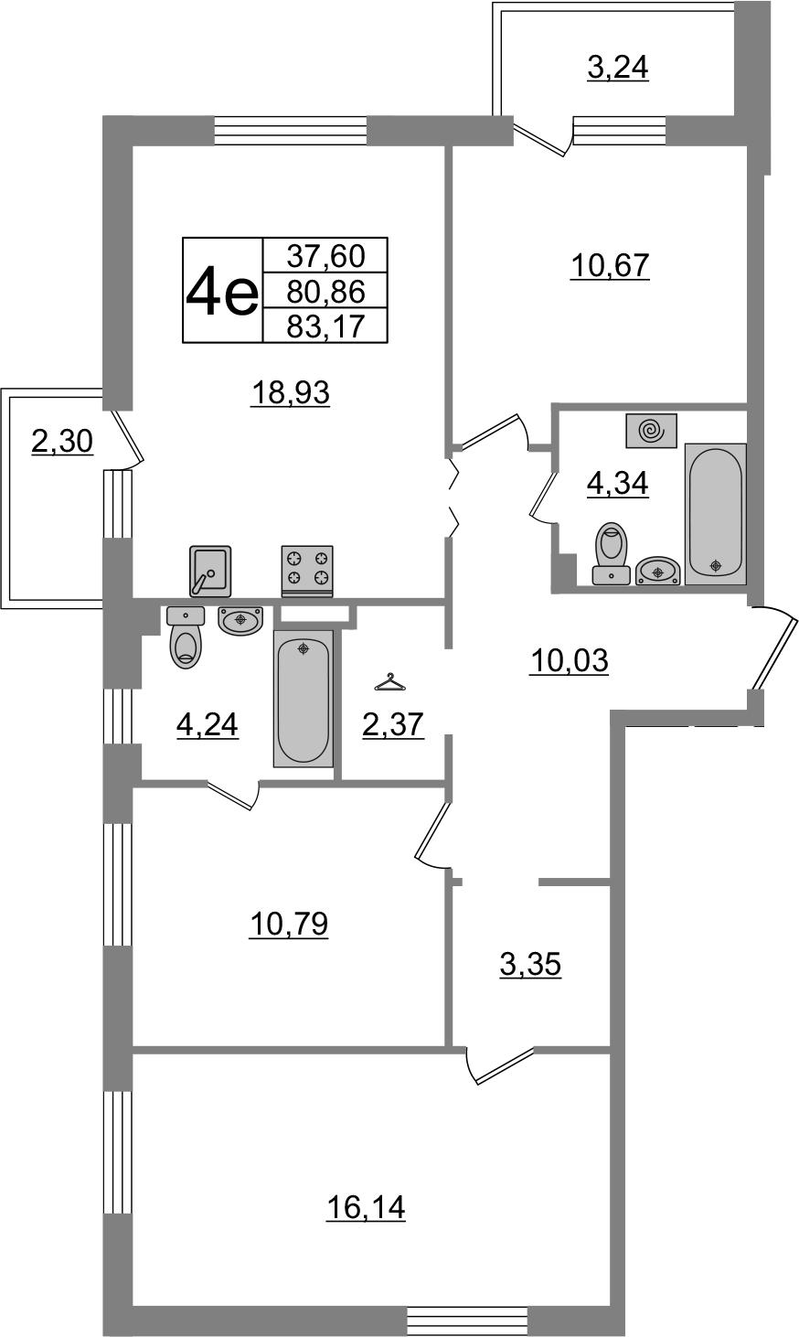 4-к.кв (евро), 86.4 м²