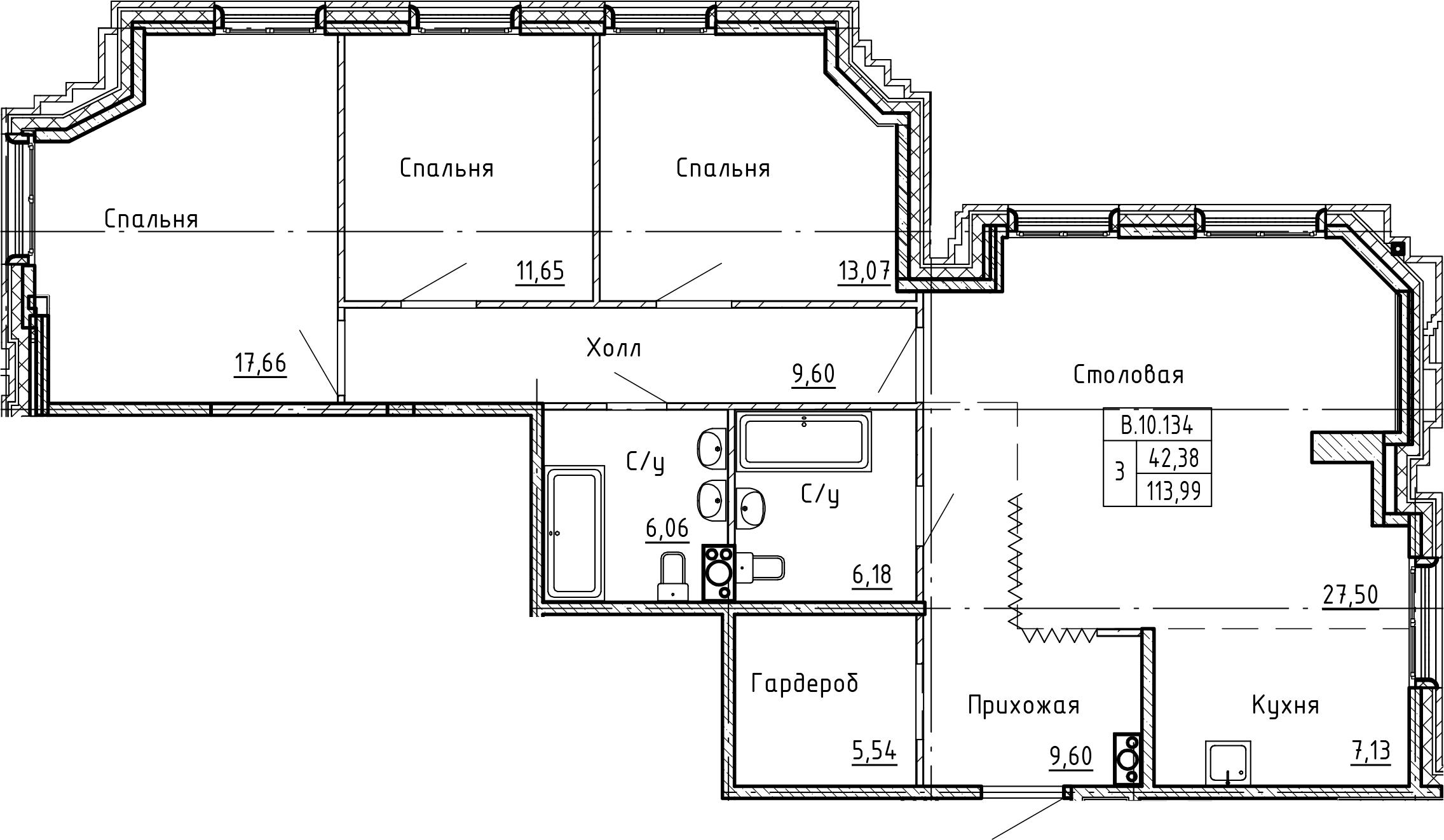 4Е-к.кв, 113.99 м²