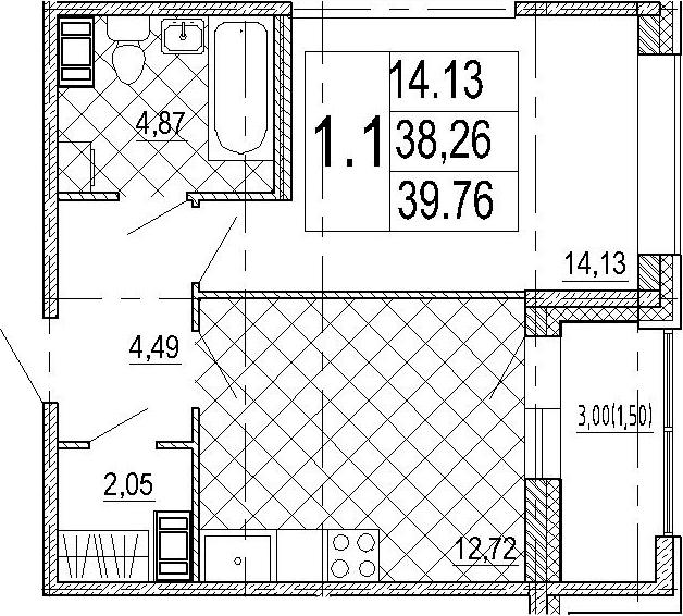 1-к.кв, 41.26 м²