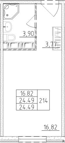 Студия, 24.49 м², 17 этаж