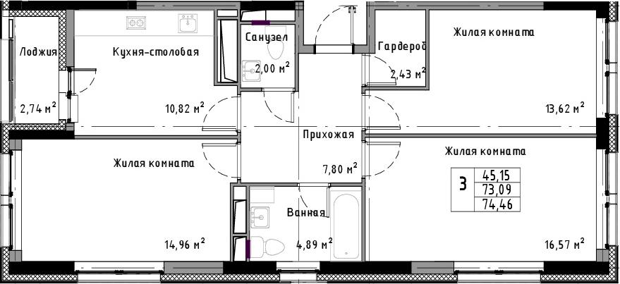 3-к.кв, 74.46 м²