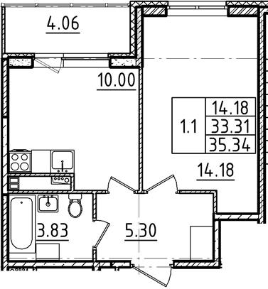1-к.кв, 35.34 м²