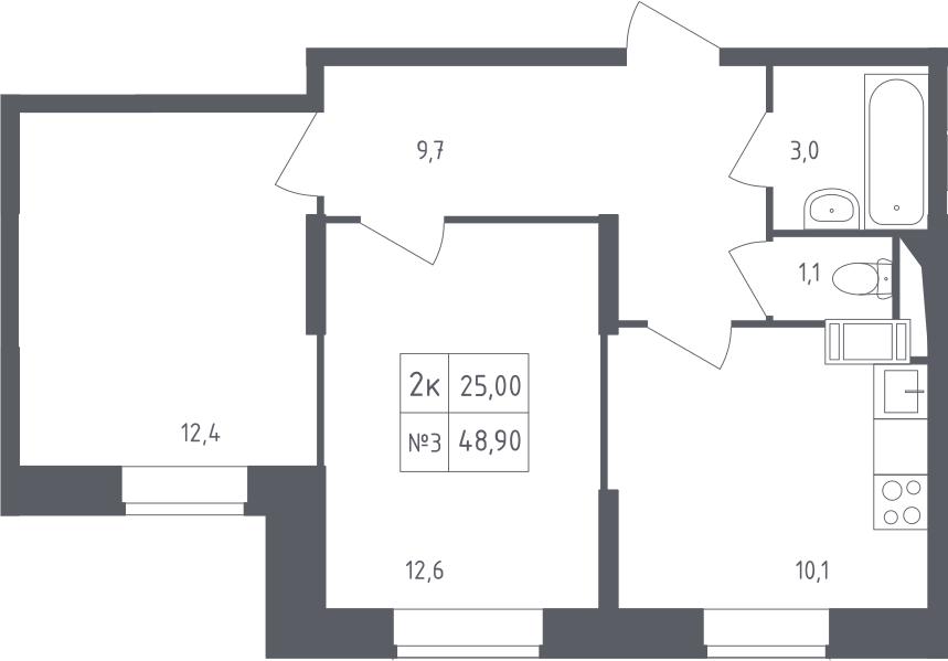 2-к.кв, 48.9 м²