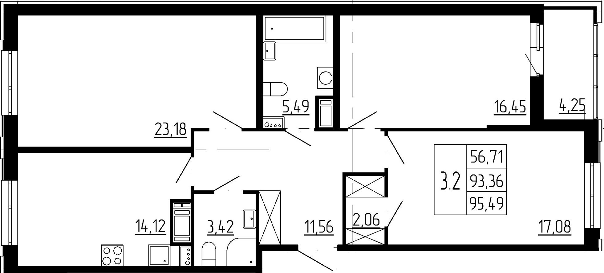 3-комнатная, 93.36 м²– 2