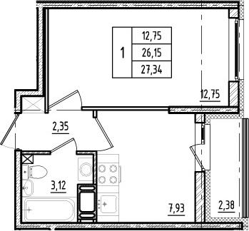 1-к.кв, 26.15 м²