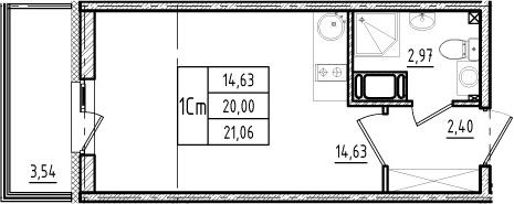 Студия, 20 м², 17 этаж