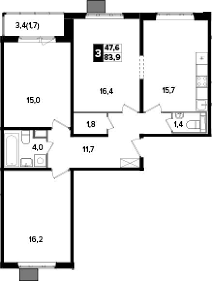 3-комнатная, 83.9 м²– 2
