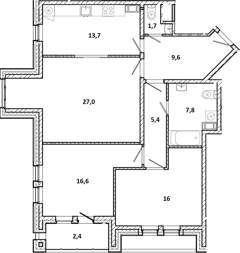 3-к.кв, 102.6 м²