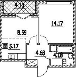 2-к.кв (евро), 40.87 м²