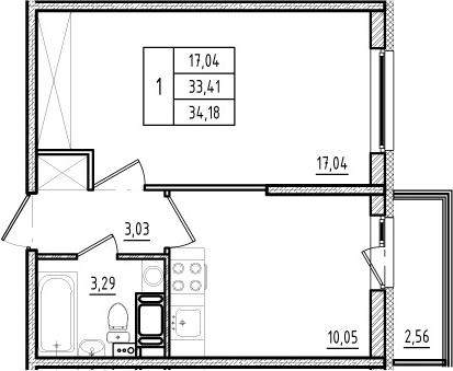 1-комнатная, 33.41 м²– 2