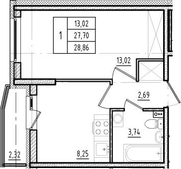 1-комнатная, 27.7 м²– 2