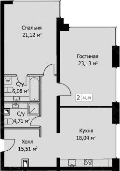 2-к.кв, 88.59 м²