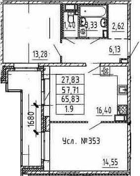 3Е-комнатная, 57.71 м²– 2