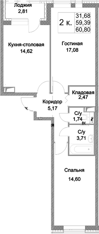 2-к.кв, 60.8 м², 7 этаж