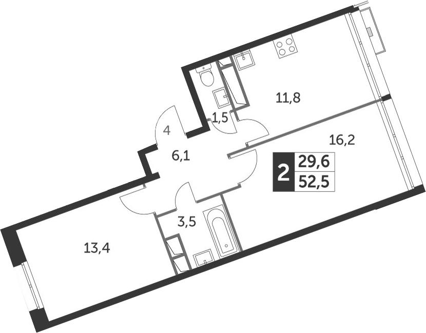 2-комнатная, 52.5 м²– 2