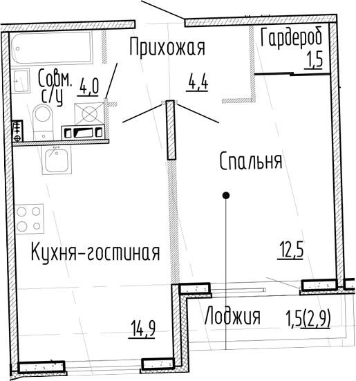 1-комнатная квартира, 37.3 м², 3 этаж – Планировка