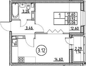 1-к.кв, 35.06 м²