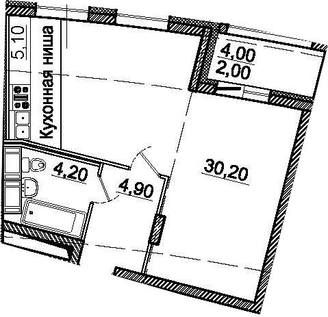 Студия, 44.4 м²– 2