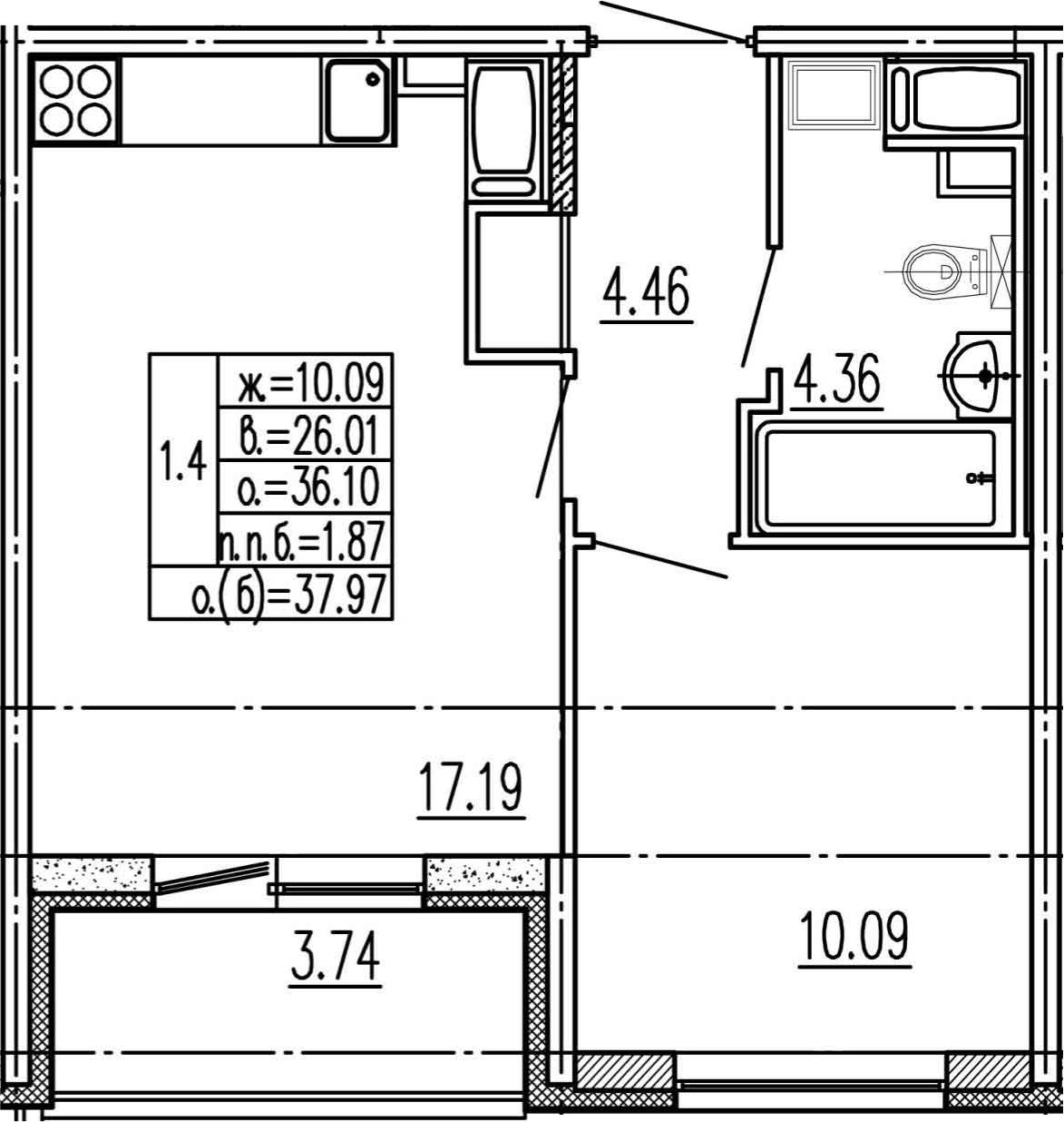 2Е-к.кв, 36.1 м², 2 этаж