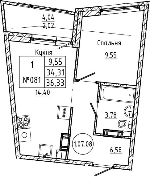 1-комнатная, 36.33 м²– 2