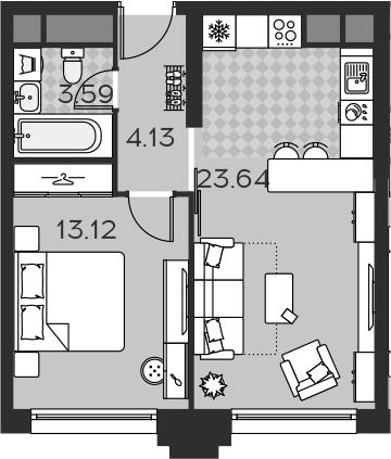 2Е-комнатная, 44.48 м²– 2