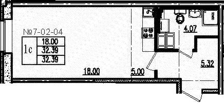 Студия, 32.39 м²