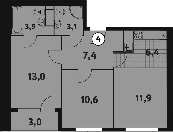 3-к.кв (евро), 59.4 м²