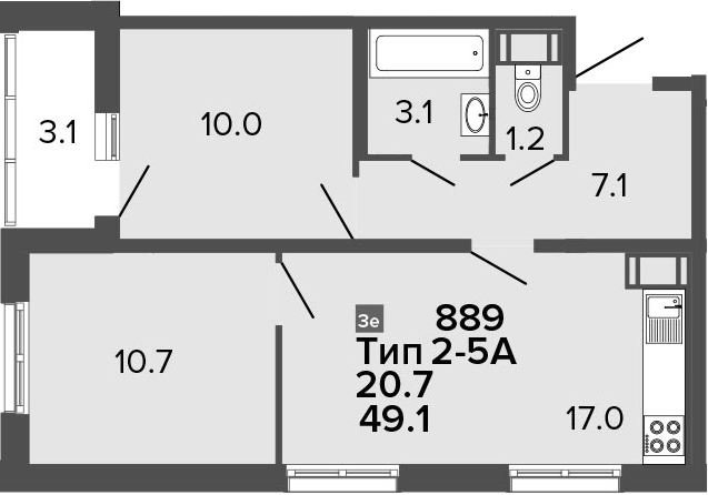 3Е-к.кв, 49.1 м²