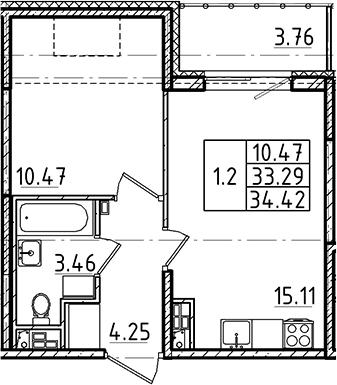 2Е-к.кв, 33.29 м², 5 этаж