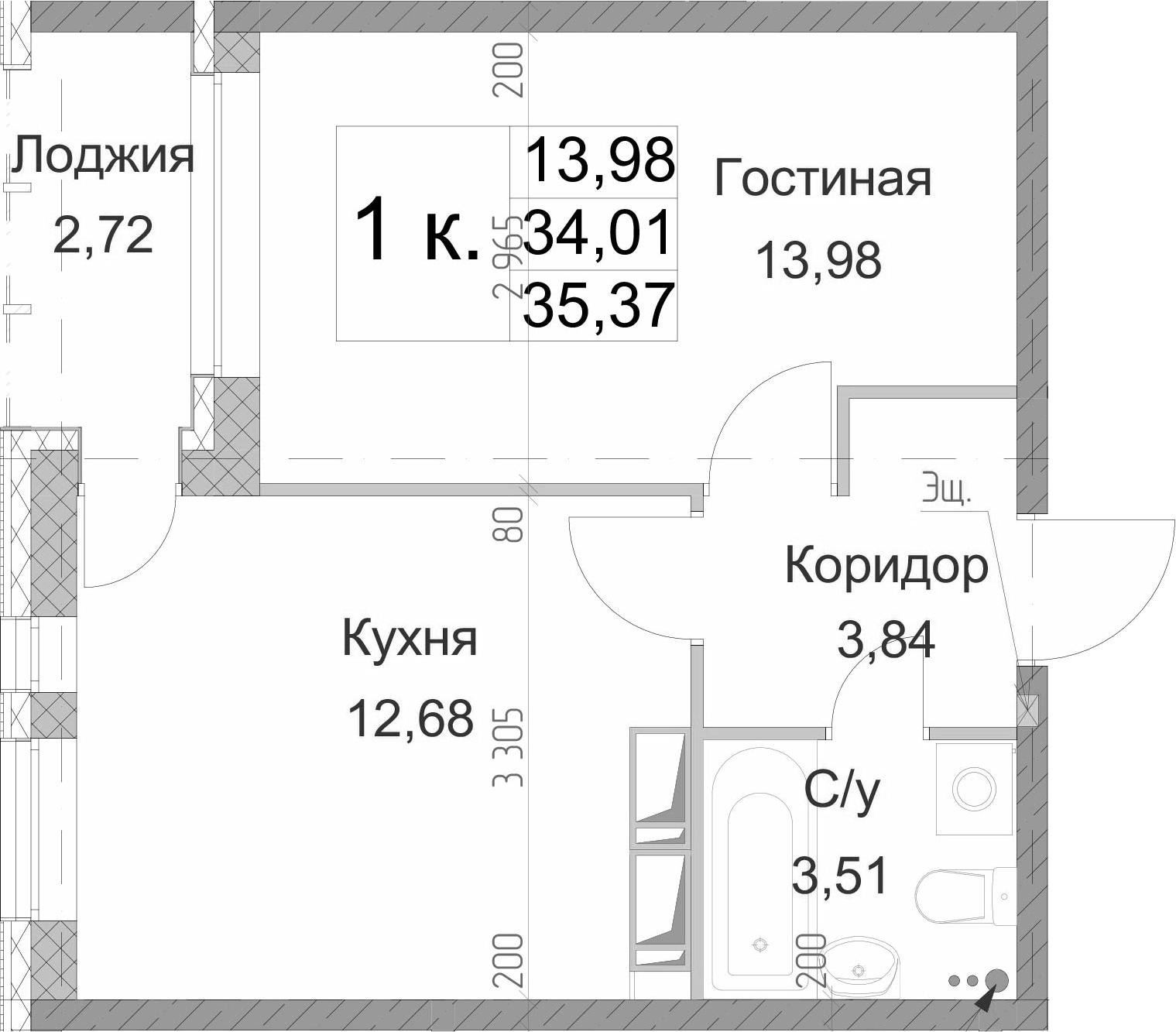 1-к.кв, 35.37 м²
